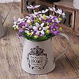 VANCORE Vintage blanco shabby chic METAL jarra jarrón de flores