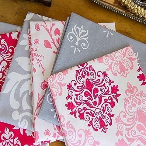 6 Cuartos De Grasa - Rosa Y Gris Damasco Diseñado & impreso en el Reino Unido - 100% Algodón