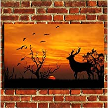 Box Prints Animal africa wildlife Stag birds sunset canvas art print picture small large