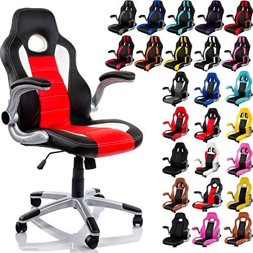 Racemaster® Sedia da ufficio 'GT Racer' con braccioli pieghevoli, sedia da ufficio, colore: nero, grigio, bianco noir/rouge/blanc