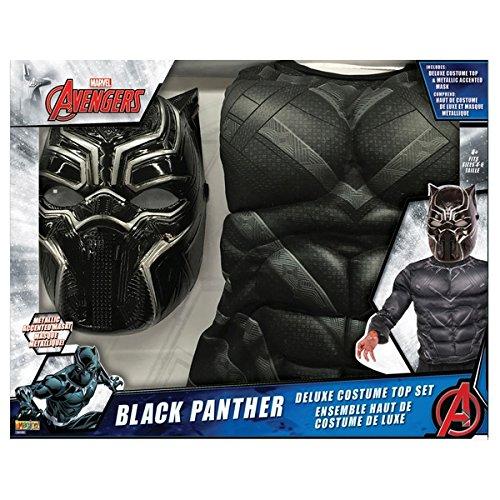 Marvel Black Panther Kostüm Top Set mit Metallic Maske