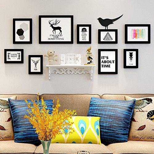 Cadre PS, salon moderne salle à manger chambre cadre photo cadre décoration murale combinaison photo, y compris étagère/photos, ensemble de 9 cadres @The harvest season (Couleur : A)