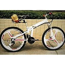 Go-Go Bicycles Supreme - Bicicletta elettrica ibrida, pieghevole, con telaio in acciaio al carbonio, copertoni Michelin 66 x 5 cm, sistema di cambio Shimano a 7velocità e 5 livelli di velocità controllabili col motore elettrico, velocità max: 25 kmh, motore: 48 V, batteria: 350 W, colore: bianco