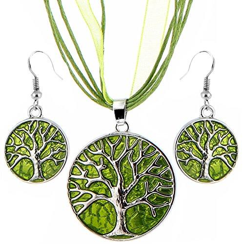 Unbekannt 3 Teiliges Schmuckset Hänger Ohrringe + Kette Verstellbar Baum Silber Grün