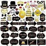 40ème anniversaire Accessoires Photo Booth props, Konsait 40 ans noir et faux or joyeux anniversaire décorations Photo Booth Masquerade avec bâton pour 40ème célébration d'anniversaire (58 comtes)