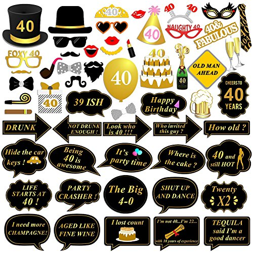 40th Birthday Photo Booth Props Kit