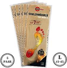 5 Paar Warmpack Sohlenwärmer L | angenehme Wärmepads | kuschlig weiches Wärmekissen | 7 Stunden wohltuende Wärme | 5er Pack | Größe L