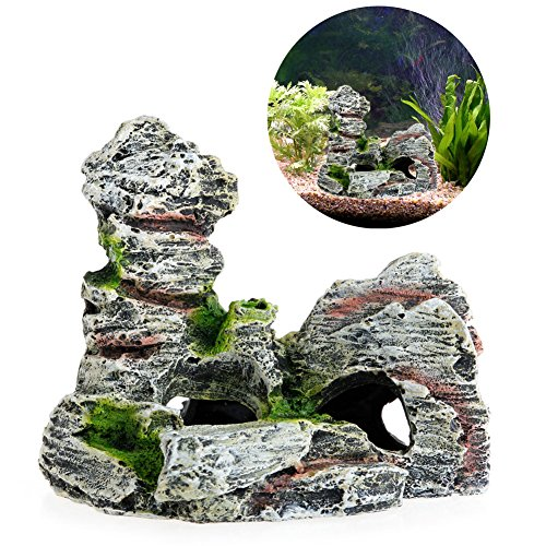 ECMQS Mountain View Aquarium Dekoration Moos Baum Haus Harz Cave Aquarium Ornament Dekor Landscap Dekorative Neue