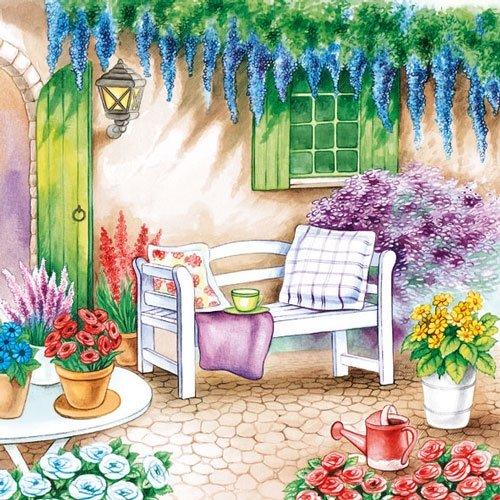 Servietten Serviette 33x33 cm Sommer Garten Gartenbank mit bunten Blumen Blumenmuster von Ambiente Kaffeetafel Geburtstag