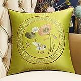 DW HCKK Chinesischen Stil Mahagoni Sofakissen Vintage Stickerei Kissen Bett Gelben Kissen im Büro-D 45x45cm(18x18inch) VersionB
