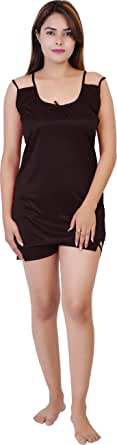 SANJH Women's Satin Printed Plain Top Shorts Nightwear