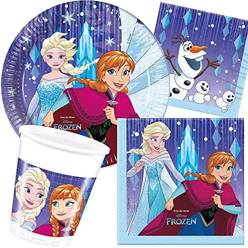 Procos/Carpeta 77-TLG. Party-Set * Frozen - Snowflakes * mit Teller + Becher + Servietten + Deko | Motto Geburtstag Kinder Kindergeburtstag ELSA Eiskönigin Disney