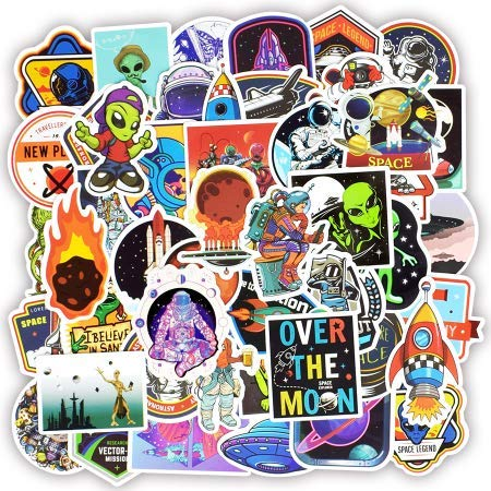 Weltraum Aufkleber Spielzeug für Kinder Alien UFO Astronaut Raketenschiff Planet Aufkleber zu Scrapbooking Skateboard Laptop 50St (Erwachsenen-schlafzimmer-wand-abziehbilder)