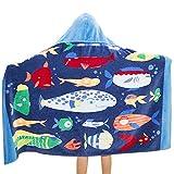 Comfysail 100% Baumwolle Kinder Kapuzen Poncho Handtuch Bade Badetuch für Jungen und Mädchen von 2-7 Jahren Strand 76*127cm (Fisch)