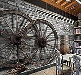 Gran costumbre Retro Rueda nostálgica Rueda de madera Bar TV Salón Dormitorio Antecedentes Muebles para el hogar, 430 × 300 cm