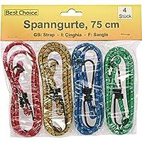 Best Choice - Cuerda elástica con ganchos (4 x 75 cm)