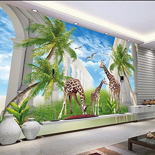 Y-Hui Extensive Space 3D Stereo Giraffe Large Mural TV Background Wallpaper Living Room Wallpaper Sofa Bedroom,275cmx235cm