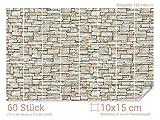 GRAZDesign 766080_10x15_80 Fliesenaufkleber Stein - Mauer - Optik | mit Fliesenbildern die Fliesen-Wände überkleben (Fliesenmaß: 10x15cm (BxH)//Bild: 120x80cm (BxH))