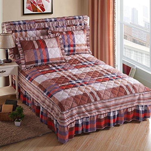 Jupe de lit Couvre-lit Couverture de lit Coton Matelassé Épaissir-Q 120x200cm(47x79inch)Version B