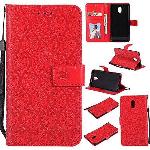 Guran PU Leder Tasche Etui für NOKIA 3 Smartphone Flip Cover Stand Hülle und Karte Slot Rattan Case - Rot