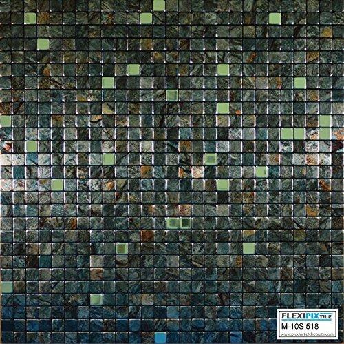 Aluminium Mosaik Fliesen, Abziehen und Aufkleben, Duett, Akzent-Wand, Camo Jungle Green (Granite) with Random Shiny Pixels ()