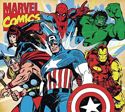 SuperGifts 1970er Jahre Retro Longhnll Comics Mauspad LonghnllIron Man Hulk Black Widow Falcon Spiderman Thor 18x22,9 cm Retro Avengers