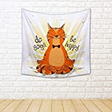 ArtzFolio Red Cat Sitting on Lotus Position of Yoga Silk Tapestry Wall Hanging 24 x 24inch