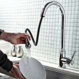 Modern High Pressure Powerful Water Flow High-arc Goose Neck Single Hole Single Handle Swivel Spout Pull Out Kitchen Taps, Polished Chrome Mixer Taps