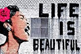 great-art Poster Graffiti Künstler Banksy Life is Beautiful - 140 x 100 cm Wandbild Dekoration Pop Art Street Style Street Art