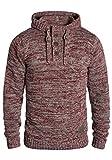 !Solid Philon Herren Winter Pullover Strickpullover Kapuzenpullover Grobstrick Pullover mit Kapuze, Größe:XL, Farbe:Wine Red Melange (8985)