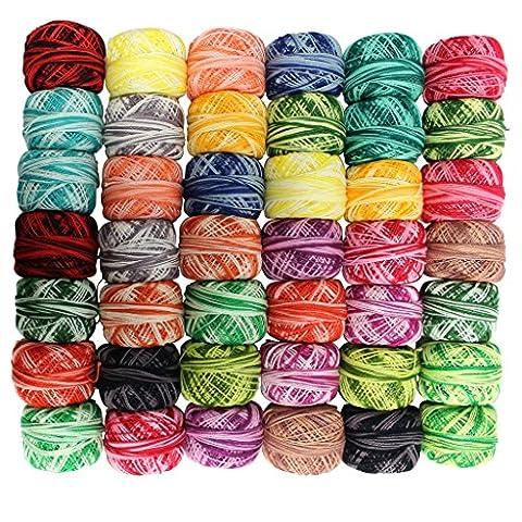 42 Bobines de Fil de Coton à Multicolores pour Crochet