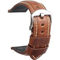 Cinturino Orologio Da Uomo In Pelle Panerai Vintage Fibbia Nera Acciaio Per Tutti Tipi Di Orologio Classico Sportivo…
