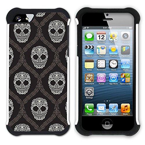 Graphic4You Crazy Music Skull Skeleton Design Hart + Weiche Kratzfeste Hülle Case Schale Tasche Schutzhülle für Apple iPhone SE / 5 / 5S Design #7