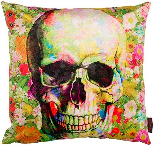 "MAGMA Totenkopf ""Skull Kissen"" ca. 50x50 cm hochwertiger Bezug in Samt artigem Soft Feeling, kuschelig gefüllt Farbe Bunt Grün"