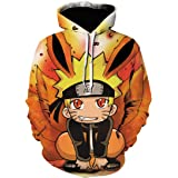 PANOZON Felpa con Cappuccio Naruto Hokage Ninjia Manga 3D Stampato per Uomo Cosplay Cool Fumetti