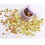 Cosmetic Glitter Shimmer Holographic Body Glitter Powder Sequins Hexagon Paillettes Flaky Decoration for Festival Rave Costume Face Body Nail Hair Eyes Lips Unicorn Mermaid Makeup(Light Red 1pc) gold