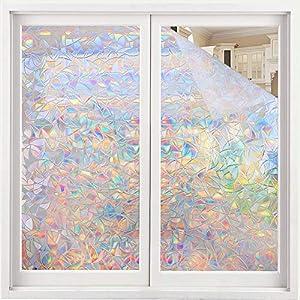 Volcanics Fensterfolie Selbsthaftend Blickdicht Sichtschutzfolie Fenster 3D Fensterfolie 60 x 300 cm Sichtschutz Glasfolie Statisch Haftend UV-Schutz ohne Kleber Dekofolie