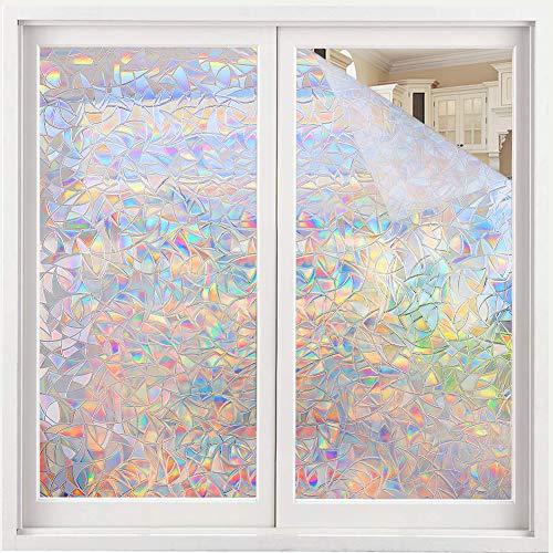 Volcanics Fensterfolie Selbsthaftend Blickdicht Sichtschutzfolie Fenster 3D Fensterfolie 44.5 x 300 cm Sichtschutz Glasfolie Statisch Haftend UV-Schutz ohne Kleber Dekofolie