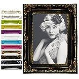 EUGAD Bilderrahmen Fotogalerie #51, Kunststoff Rahmen, Glas Vorderseite, Antik Barock, zum Aufstellen im Querformat und Hochformat, 12 Farben in 5 Größen (Schwarz/Gold, 13x18)