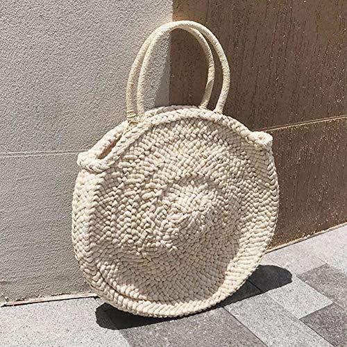Bag-Haigeen Runde Stroh Tasche Korb Tasche Frauen handgewebte Strandtasche natürliche ovale große große Tote Kreis Handtasche -