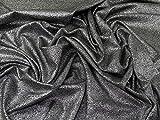 Lurex Metallic Druck Stretch Jersey Knit Kleid Stoff–Silber auf schwarz Meterware