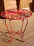 FUNKY RETRO GARDEN TABLE METAL GREEN BLUE RED WHITE (Red)