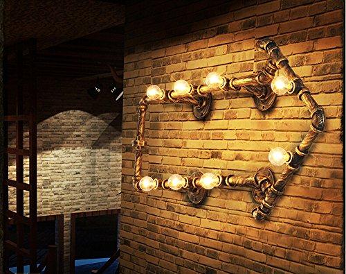 Colore vintage in ferro battuto industriale Steampunk rame parete parete lampada da parete applique lampade, 8 luci tubo lampada applique per parete, sala soggiorno, Sala da pranzo, Hall, camera da letto, Bar, Club, ristorante, cucina ad isola, camera d'albergo, corridoio, ufficio, sala retrò Creati
