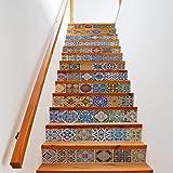 Extsud 13er Set Strand Treppe Aufkleber DIY selbstklebende Türtapete Aufkleber angebracht renovierten Treppe wasserdicht Mehrfarbig Sticker 100*18 cm/pcs