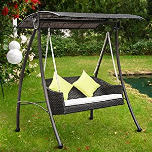 outsunny garten rattan swing stuhl outdoor. Black Bedroom Furniture Sets. Home Design Ideas