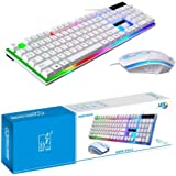 لوحة مفاتيح زد جي بي موديل جي 21 يتم توصيلها بيو اس بي، لوحة سلكية للالعاب، مع ماوس ليد متعددة الألوان، ذات ملمس ميكانيكي كمب