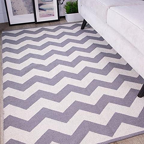 Pulse Grey Chevron Zig Zag Simple Geometric Pattern Contemporary Cotton Viscose Living Room Area Rug 60cm x 110cm