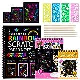 Dessin Gratter pour Enfants, 3 Packs Scratch Art Livres Et Coloriage en Papier Noir avec 4 Règles de Gabarit pour Gabarit de Dessin et 6 Stylets en Bois