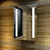 Badspiegel 50x70cm Spiegel (eckig) mit energiesparender LED-Beleuchtung Warmweiß IP44...