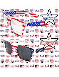 12c8f50071b Well Pack Box USA 144 Tattoos Plus 2 Pair Patriotic Flag Sunglasses Red  White Blue Accessories